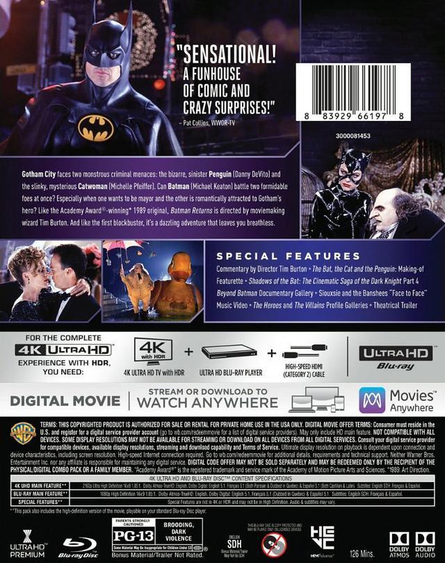 画像6: 旧シリーズ4作が4K×アトモスで登場 『バットマン』『バットマン リターンズ』『バットマン フォーエヴァー』『バットマン&ロビン/Mr.フリーズの逆襲』【海外盤Blu-ray発売情報】
