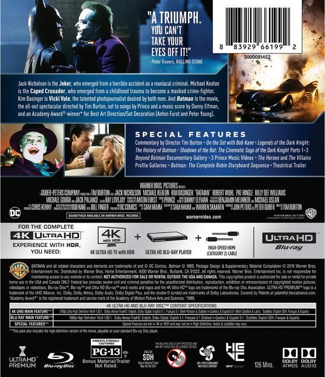 画像5: 旧シリーズ4作が4K×アトモスで登場 『バットマン』『バットマン リターンズ』『バットマン フォーエヴァー』『バットマン&ロビン/Mr.フリーズの逆襲』【海外盤Blu-ray発売情報】