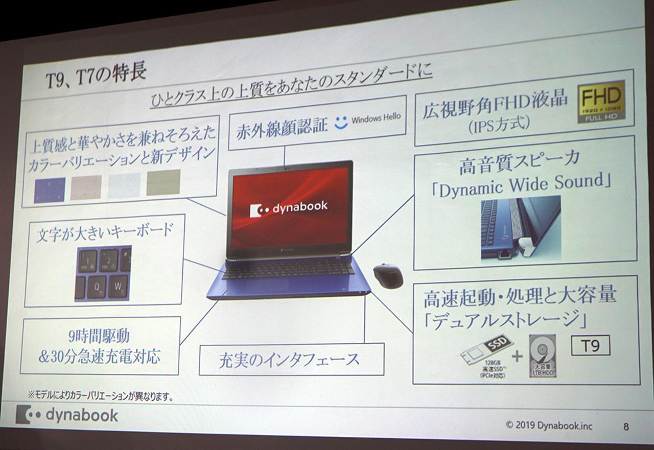 画像: T9とT7の主な特長をまとめたレジュメ。キーボードの文字も大きくするなど、使いやすさにも配慮されている