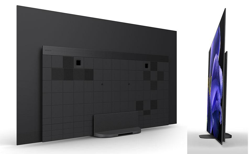 画像: 「KJ-77A9G」の背面&側面。画面の傾きはA1シリーズの5度から、A9Gでは2度に変更された