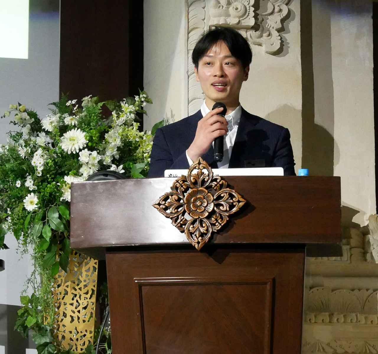 画像: 冒頭、nura社の取り扱い開始について説明する、Delfin Japanの尹(ユン)氏