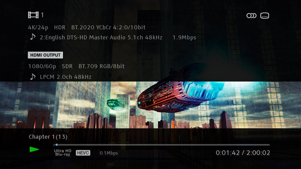 画像: HDMI出力から出力している映像の詳細情報が見られるようになった(写真のHDMI OUTPUT)