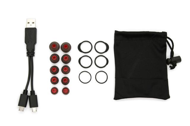 画像: 付属品の一覧。充電は左右ユニットそれぞれに直接行なうので、二股のUSBケーブルが同梱される