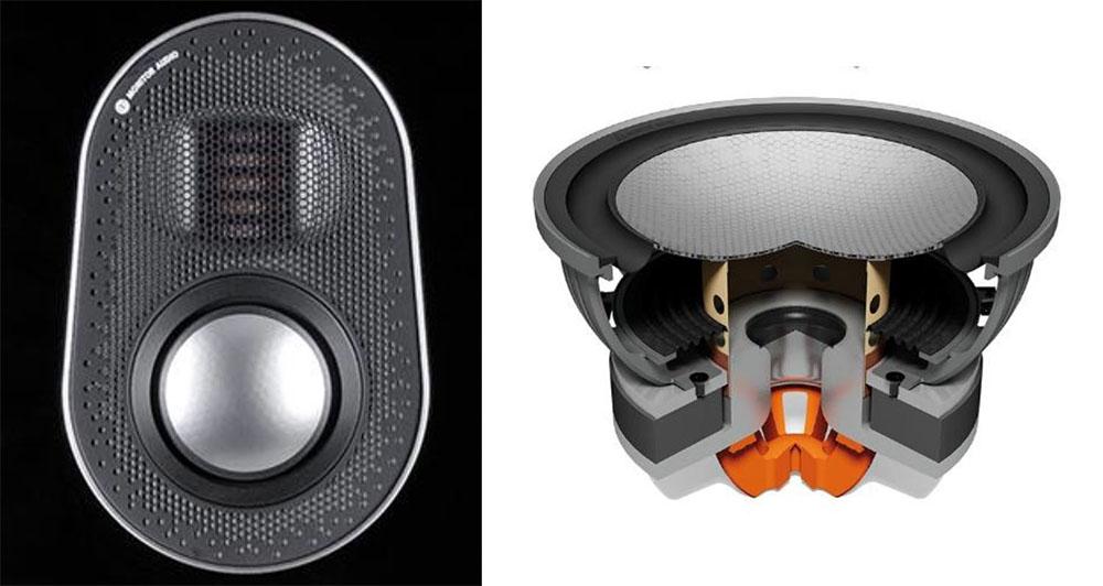 画像: 左がMPDと64mmミッドレンジを取り付けたダイキャスト製チャンバーモジュール。右はRDT IIウーファー