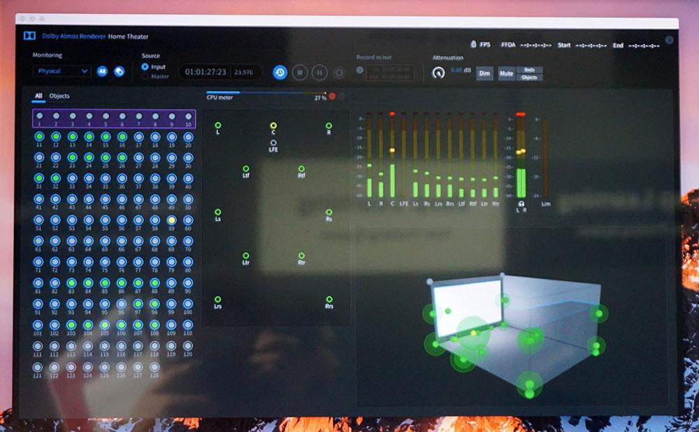 画像: 「Dolby Atmos Renderer Version3」の画面。右下に音源位置がグラフィック表示されている