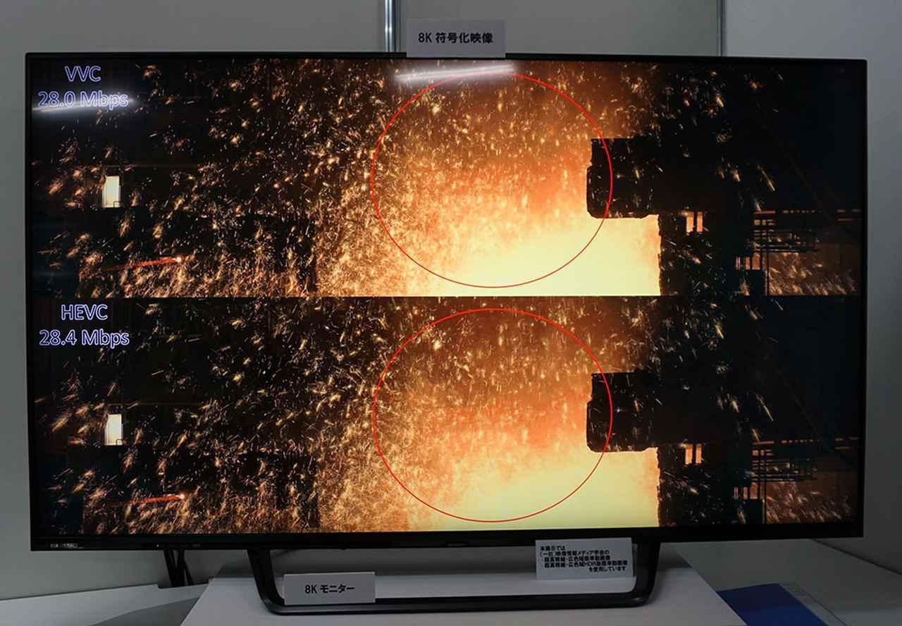画像: モニター上側はVVCによる圧縮を経た映像で、下はHEVCで圧縮したもの。ビットレートは同じとのことだが、じっくり見ると細かなノイズや細部の再現性に違いが確認できた