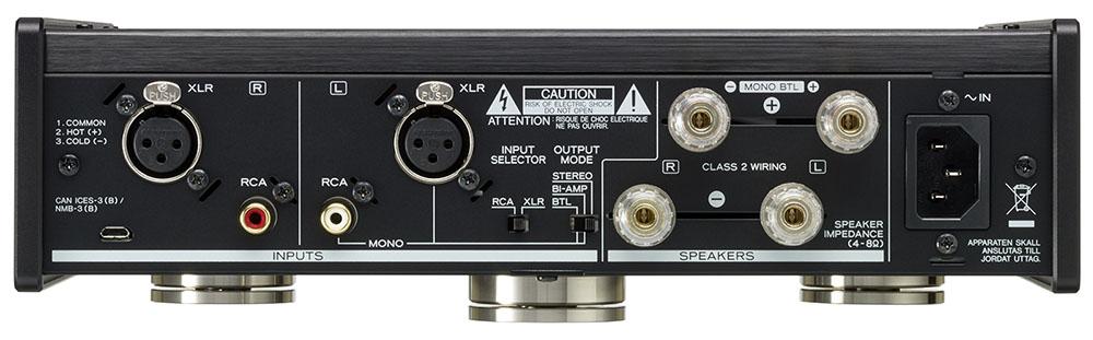 画像: 入力端子はバランスとアンバランスが各1系統。STEREO/BI-AMP/BTLの切り替えは中央下側のスイッチで行なう
