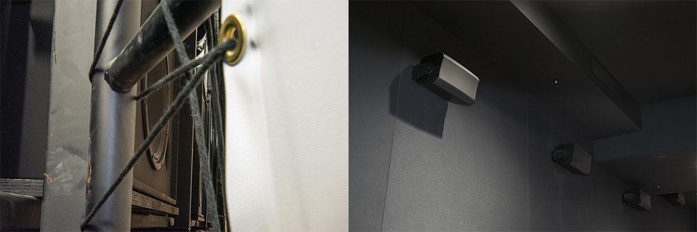 画像: 写真左はスクリーン越しにフロントスピーカーを覗いたところ。スクリーンは織物素材で、サウンドホールが目に付くこともない。右はサラウンドスピーカー