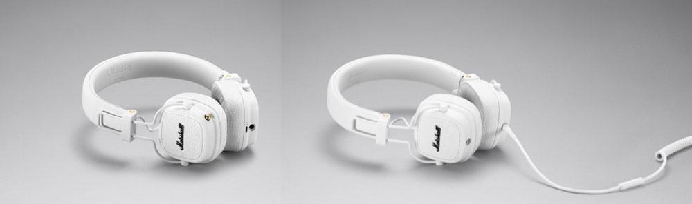 画像: 「MAJORⅢ」のホワイト、Bluetooth(左)&有線モデル(右)
