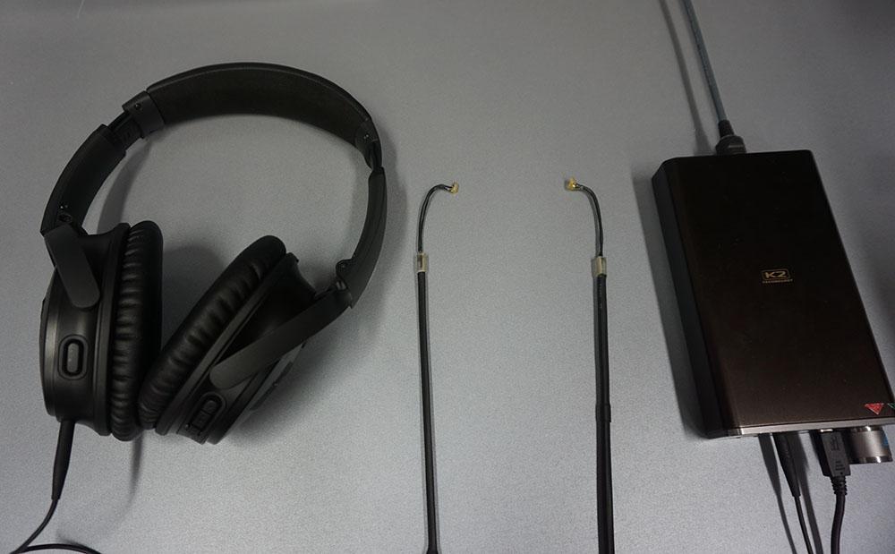 画像: 中央が測定用のMEMSマイク。これを自分の耳の中にセットし、その上からヘッドホンを装着して測定する
