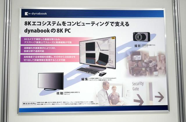 画像: ▲「dynabook day 2019」の8Kゾーンに展示されていた8K PCのコンセプト