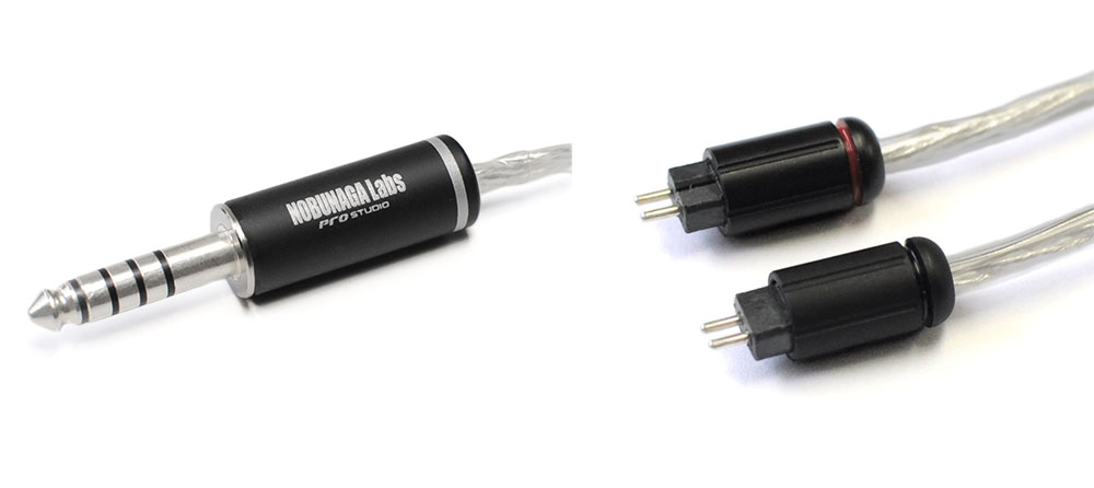 画像: HERCULES-Sの3.5mm3極ステレオミニプラグ。右はイヤホン/ヘッドホン側のCIEM2pinコネクターで、こちらは3モデル共通