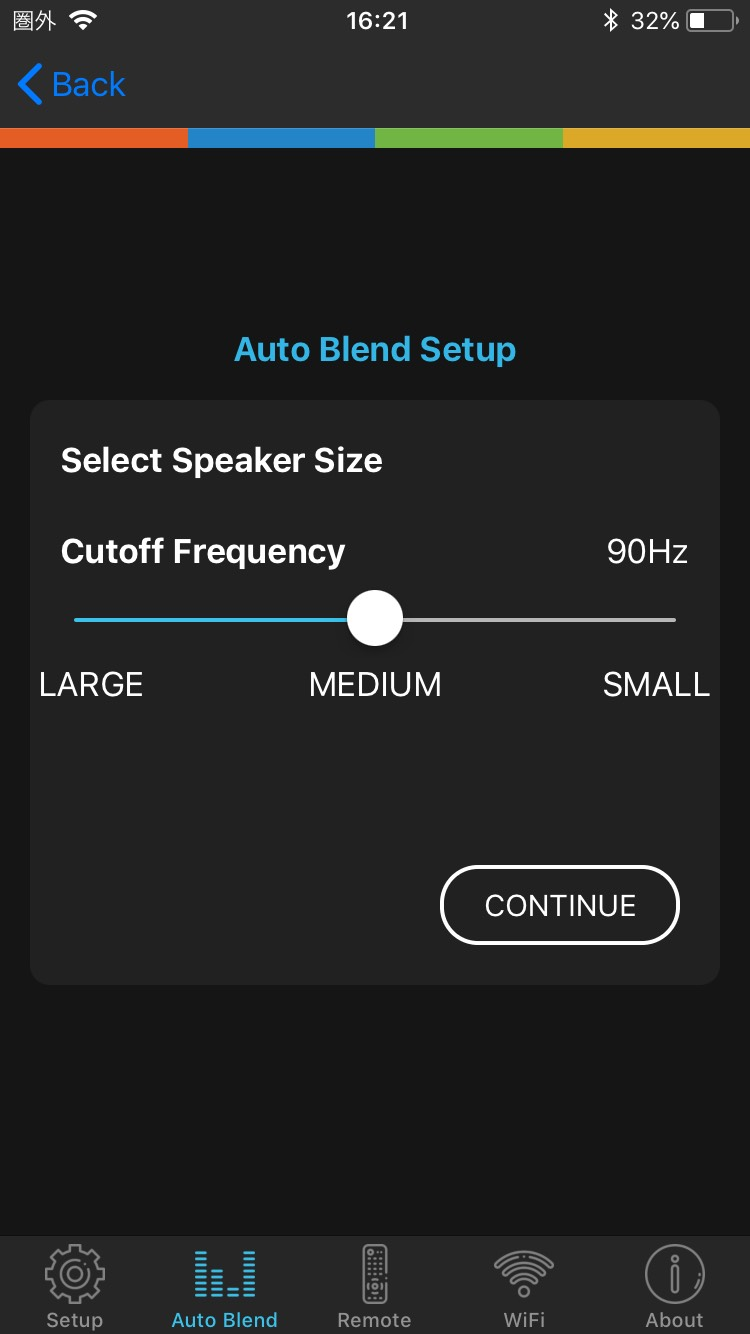 画像: 本機の目玉機能「Auto Blend」を動作させるためには、簡単なセットアップが必要。「Auto Blend Setup」の第一段階は、メインスピーカーのサイズ選択だ。「Large」(サブウーファーと40Hzでつなぐ設定)、「Medium」(同じく90Hz)「Small」(同じく140Hz)から選ぶ