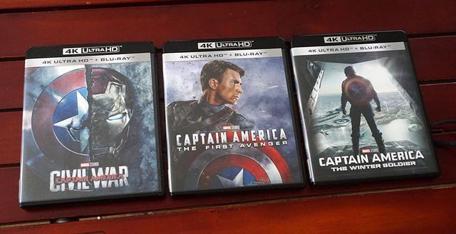 画像: 写真左から、『シビル・ウォー/キャプテン・アメリカ4K UHD』(¥6,000、税別)、中央が『キャプテン・アメリカ/ザ・ファースト・アベンジャー4K UHD』(¥6,000、税別)、右は『キャプテン・アメリカ/ウィンター・ソルジャー4K UHD』(¥6,000、税別) (C) 2016 MARVEL (C) 2011 MARVEL (C) 2014 MARVEL