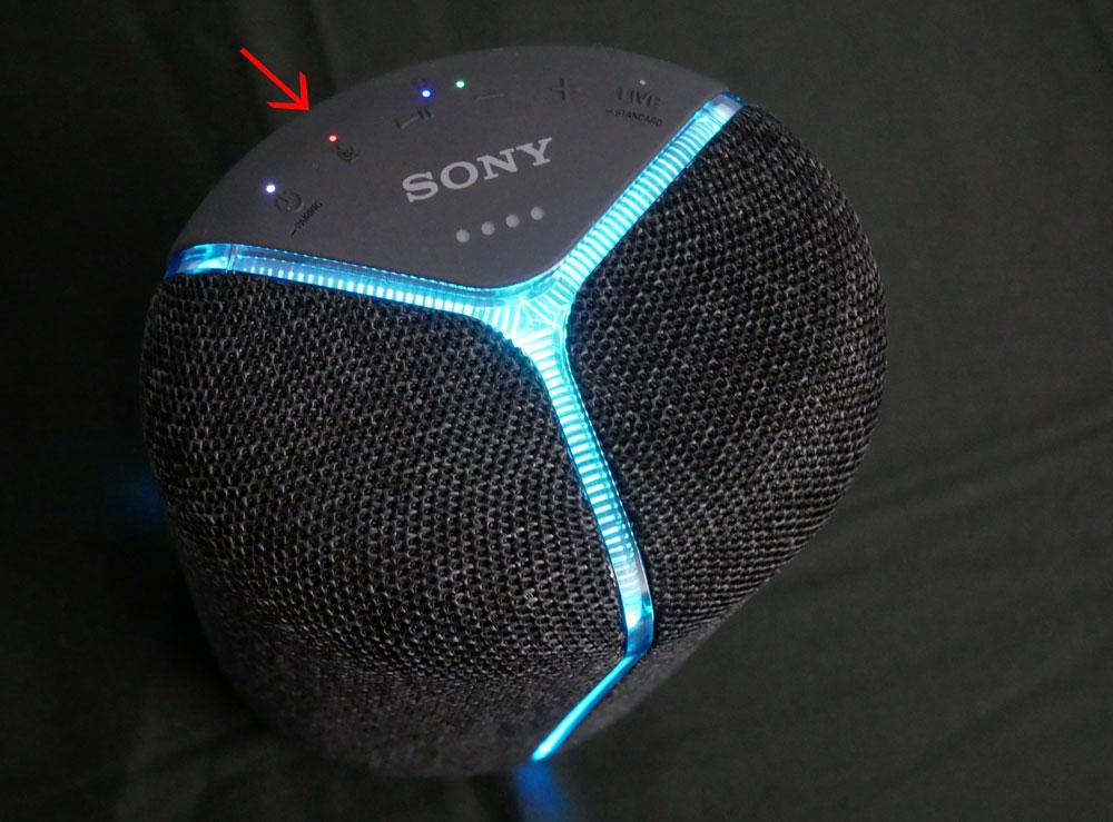 画像: Amazon Alexa対応の「SRS-XB402M」には矢印部分にマイクミュートLEDがあり、それが「SRS-XB402G」との差異