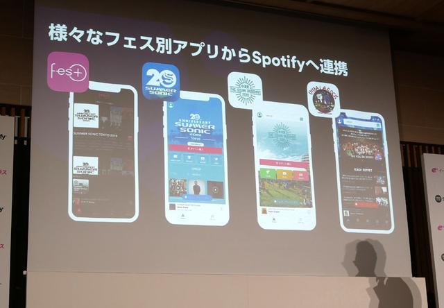 画像: イープラスからSpoifyへは、イープラスが提供しているアーティスト情報(SPICE)からSpotifyへ飛んで楽曲を聴けたり、あるいは各地のフェス情報を網羅しているアプリ「Fes+」で紹介されているアーティストのプレイリスト(楽曲)が聴けたりする