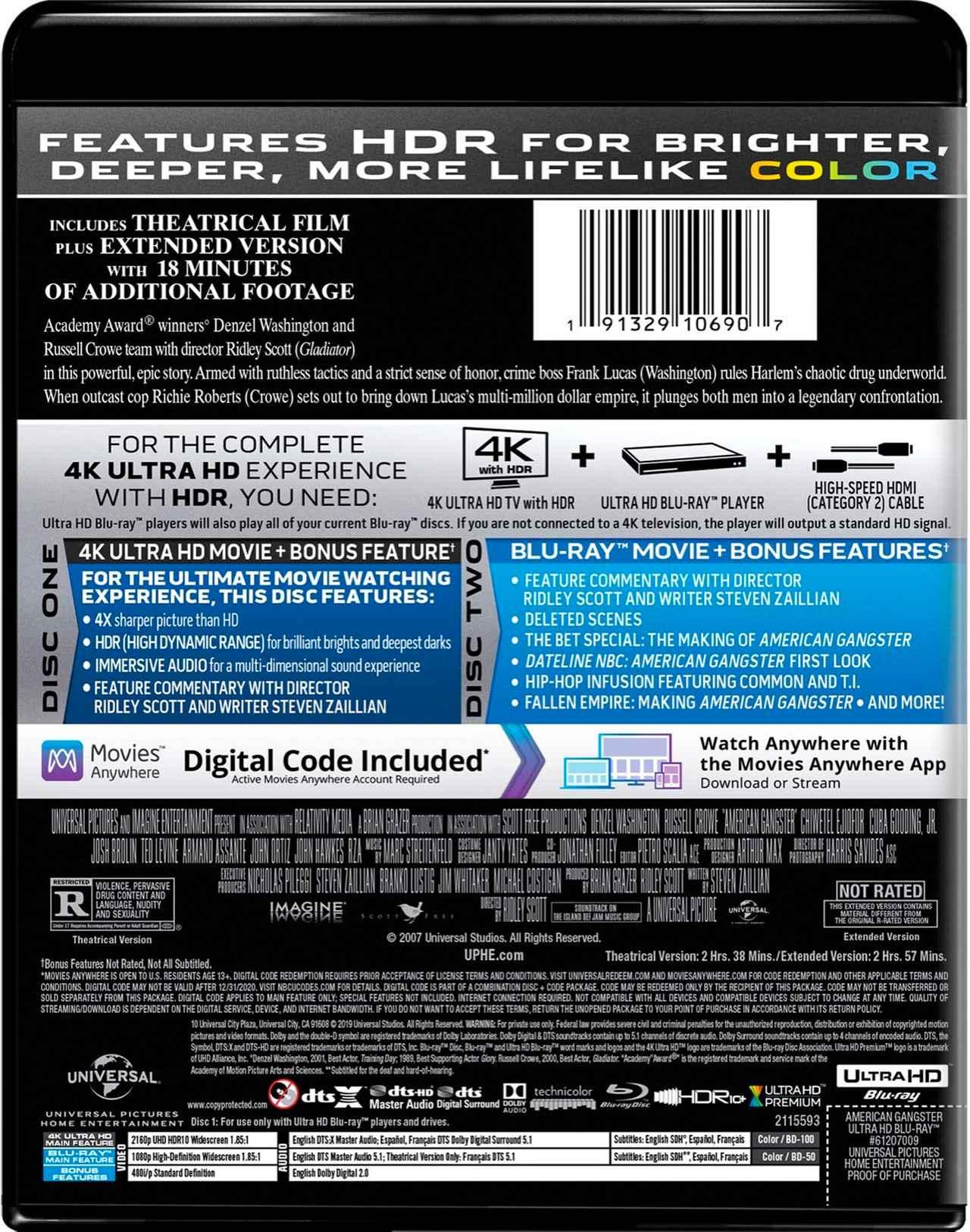 画像2: リドリー・スコットが贈る実録犯罪サスペンス『アメリカン・ギャングスター』【海外盤Blu-ray発売情報】