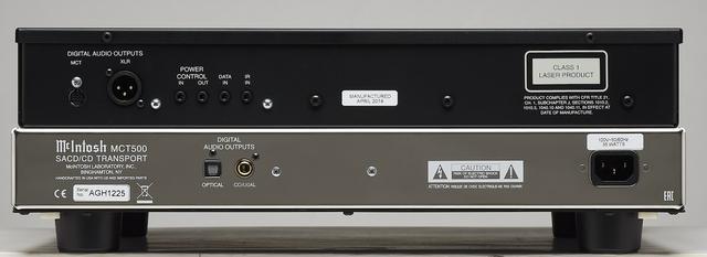 画像: SACD/CDトランスポートである本機は、通常のSPDIF出力(CDレベル)のデジタル出力としてRCA同軸、TOS光、AES/EBU(XLR)の3出力を持つ。SACD(DSD)信号のデジタル伝送は独自のMCTデジタル出力を装備する。また、他のマッキントッシュ製品との電源オン/オフの連動が可能なパワーコントロール入出力端子も備える。