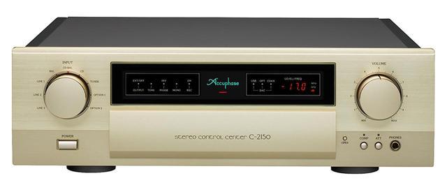 画像: ←視聴に組み合せた同社コントロールアンプの最廉価モデルの、C-2150(¥500,000+税)。EXTプリ入力を備え、AVセンターとの連携もスムーズに行なえる