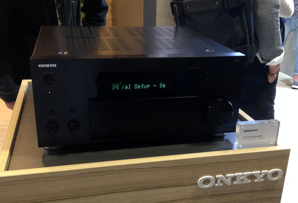 画像: オンキョーブースに展示されていたAVセンター「TX-RZ3400」は既にIMAX Enhancedのロゴが入れられていた