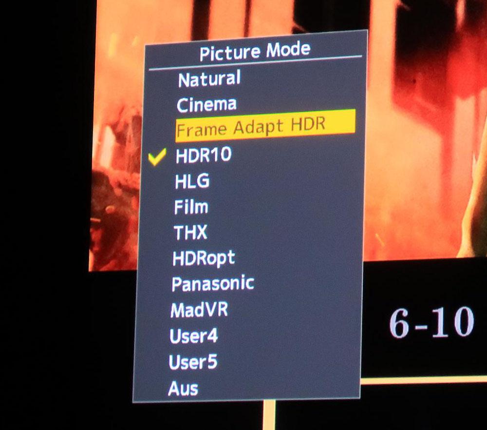 画像: Frame Adapt HDRはピクチャーモードに入る