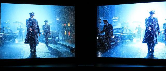 画像: 左側が「Filmmaker Mode」。雨粒の大きさが細かいのは、ノイズリダクションの影響がないからだ