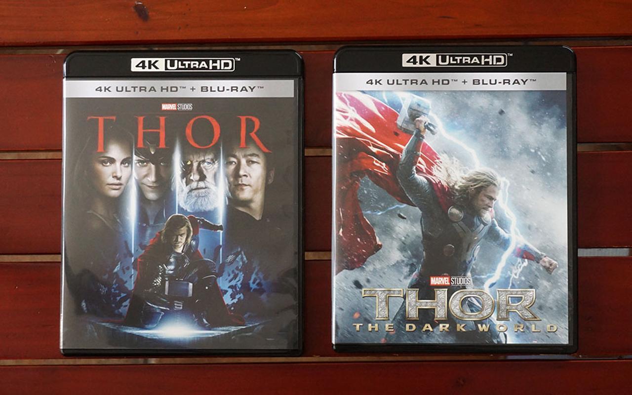 画像: 左は『マイティ・ソー 4K UHD』¥6,000(税別)で、右は『マイティ・ソー/ダーク・ワールド 4K UHD』¥6,000(税別)