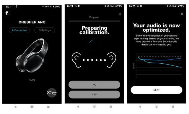 画像: 専用アプリ。Android、iOS両方を用意(無償)。アプリの起動は位置情報がONになっていない起動しない。中央が測定中の画面。右が筆者の測定結果。縦軸が感度、横軸が周波数になる。点線が理想の状態で、色付きの実線が実際の測定値。濃い青が右耳、薄い青が左耳だ