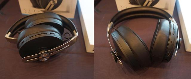 画像: MOMENTUM Wirelessは、持ち運びの際には左のように折り畳みもできる。右のように本体を開くと自動的に電源が入る仕組みだ
