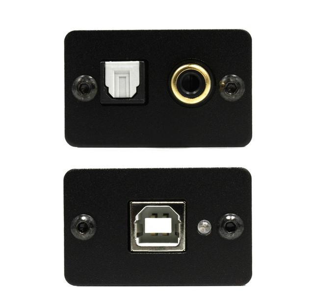 画像: USB Type-B入力(写真下)からのデジタル信号を、同軸または光端子(写真上)から出力してくれる