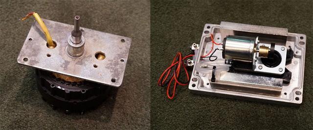 画像: 左がPapst社製のシンクロナスモーターで、右はエアバキューム用のポンプ