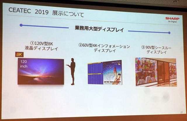 画像: CEATEC2019のシャープブースには、120インチの8Kディスプレイも展示されている。その詳細は改めて紹介します