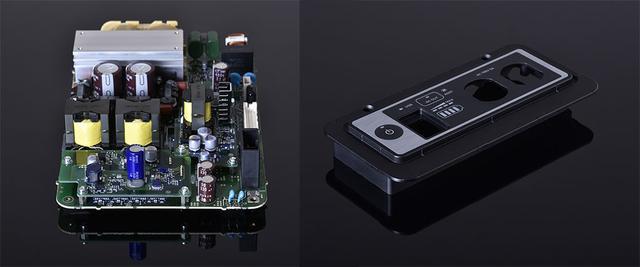 画像: 左は正弦波インバーターの回路基板で、右は専用に開発されたコントロールパネル