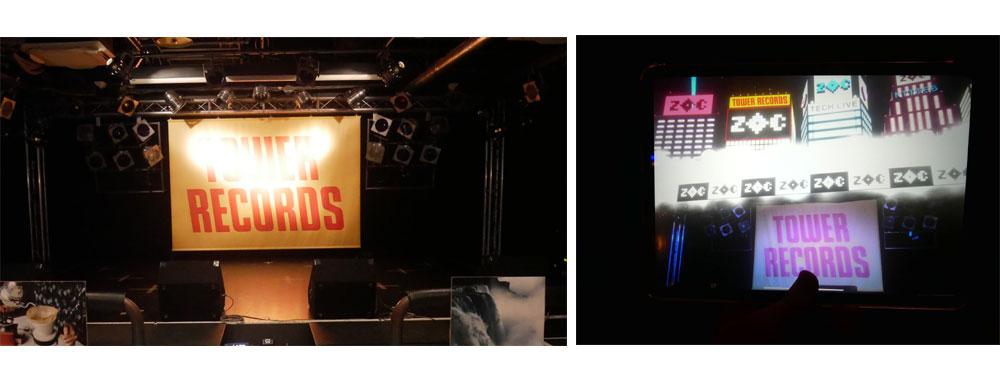 画像: ▲左がリアルなステージ。右はTECH LIVE演出を施したタブレット画像。「TOWER RECORDS」の旗(?)の上に、バーチャル映像が付加されている