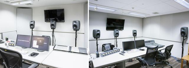 画像: 左が3ch仕様のサウンドエディットルームで、右が5.1ch仕様のサウンドデザインルーム。それぞれどんな作業を行うかで使い分けているとのこと。サウンドデザインルームは、天井にも音響を考慮した設計が施こされている