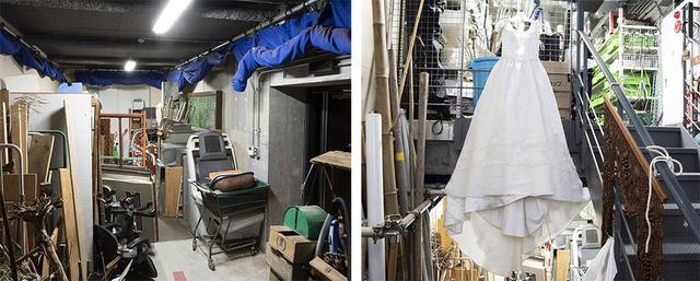 画像: フォーリーステージに隣接した「音を出す素材」を集めた倉庫。板や金属の塊から、ウェディングドレス、猫砂まで本当にいろいろな部材が準備されている