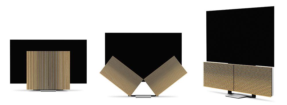 画像: 「Beovision Harmony」がトランスフォームする様子。左から、モニター画面を収納した場合、電源を入れてスピーカーが広がった状態、モニターが視聴位置にセットされたところ