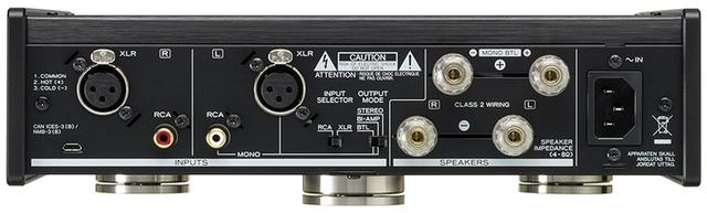 画像: ↑バランス、アンバランスの2系統の入力端子を装備。背面中央付近にディップスイッチがあり、通常のステレオモードのほか、バイアンプモード、BTLモードの3つの動作モードが選択できる