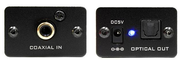画像: FX-D06Jの「COAXIAL to OPTICAL」モデルの端子部。「COAXIAL to OPTICAL」モデルではIN/OUTが逆なるだけで、電源等の配置は変わらない