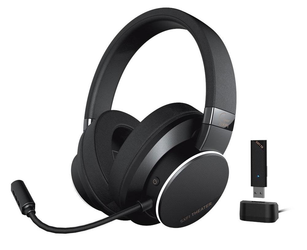 画像: 「Super X-Fi」対応のワイヤレスヘッドホン「Creative SXFI THEATER」。ボイスチャット用のマイクとUSBドングル、USBドッグが付属する