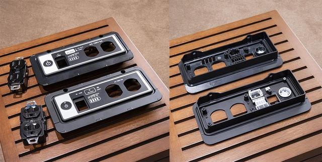 画像: E500 for Musicではコントロールパネル部の素材にも配慮している。写真手前がE500 for Musicで使われているアルミ合金「ヒドロナリウム」製で、上側はベースモデル用の樹脂製となる
