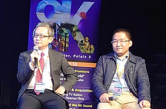 画像: 8K制作事務局長の村山淳氏と北京テレビのテクニカルディレクター、Guo Haojun氏
