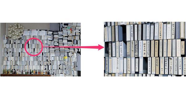 画像: 麻倉さん自宅視聴室には、壁面を覆うように録画コンテンツが積み上げられている。こちらは主にVHSで、一部に空きがあるのは、資料として貸し出したため。寄って見ると、「即位の礼 90/11」など当時が偲ばれるコンテンツが