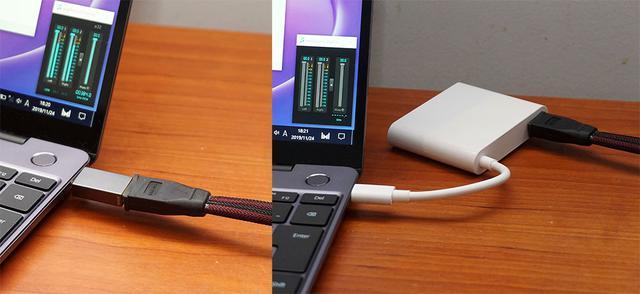 画像: Type-CをType-Aに変換できるコネクター(左)や付属の「MATEDOCK 2」(右)を使った場合の音の違いも確認した