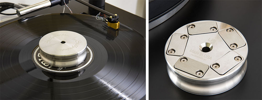 画像: 「LPI」は、レコードのラベル部分に乗せることで微振動を吸収し、再生音に鮮明さ、繊細さを与えるアクセサリーだ。写真は上部にもスピンドル穴がある「LPI Long Spindle」で、他に短いスピンドル用の「LPI Short Spindle」もラインナップする