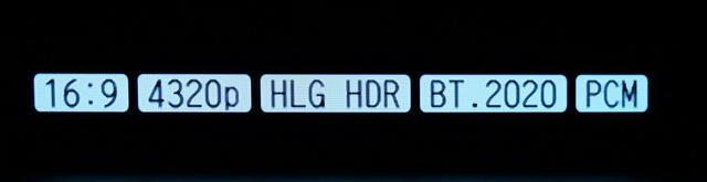 画像: ←「HDMI 2.1」対応としており、将来的にはHDMI1本での8K映像信号入力が可能。開発用の機器を使って8K放送の録画番組を再生すると、写真のように「4320p」(水平7,680×垂直4,320画素)の入力を確認できた