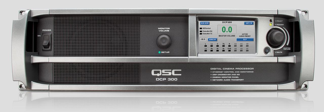 画像: デジタルシネマプロセッサーのQSC「DCP300」はマスターボリュウムの調整、各チャンネルごとの音質やバランス調整を行ない、モニタースピーカーまで内蔵する