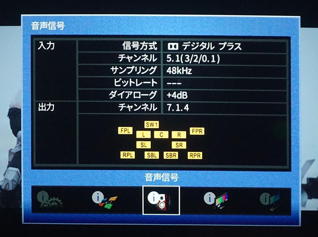 画像: ヤマハ「CX-A5100」で音声情報を確認したところ、ドルビーデジタルプラスの5.1chだった