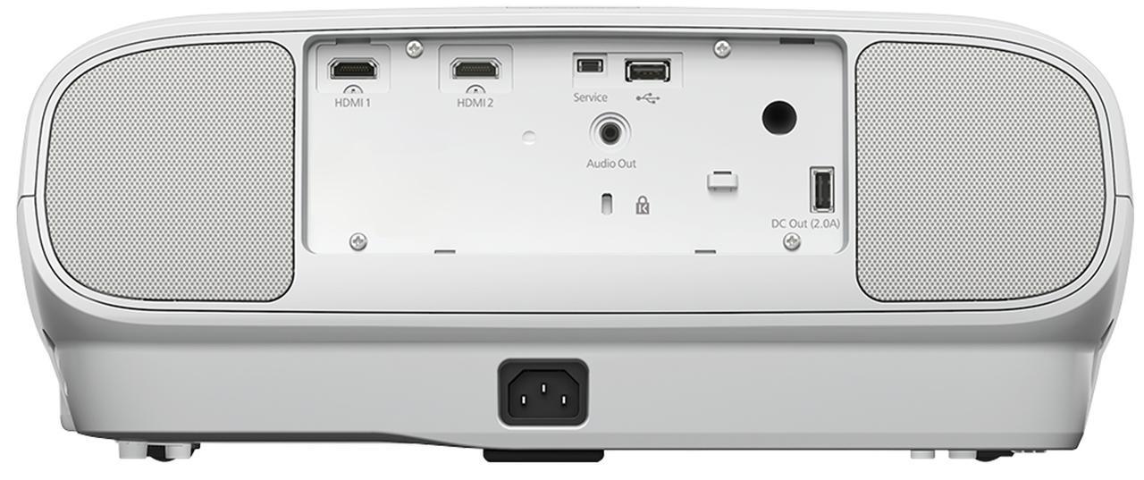 画像: ↑ 2系統を備えるHDMI端子は18Gbps対応で4K/60p&HDR映像信号の入力が可能だ。TW7100は本体背面左右にスピーカーを装備したモデル。スピーカーレスおよびコントラスト値の異なるTW7000(実勢価格は16万台後半)もラインナップされている