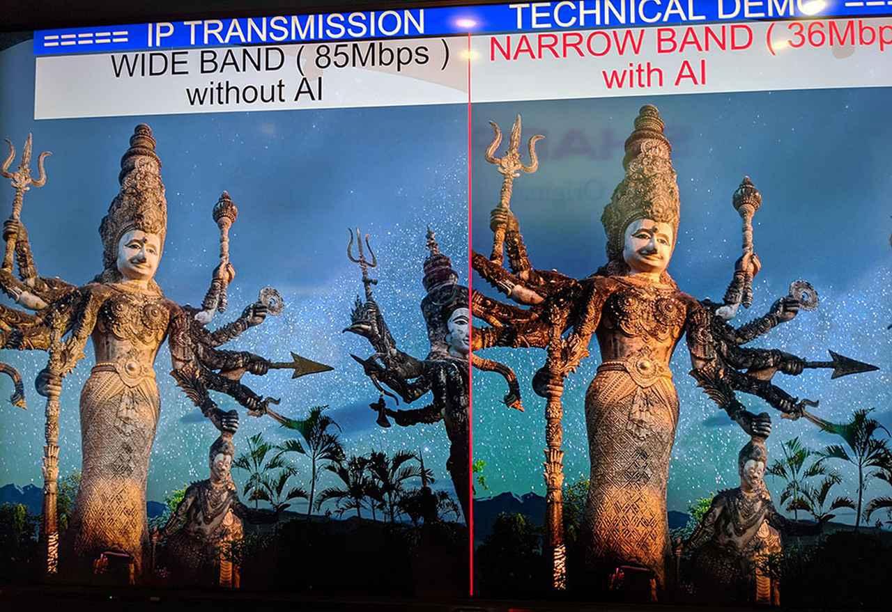 画像: 「AI圧縮なしの85Mbps伝送」と「AI圧縮ありの35Mbp伝送」を比較